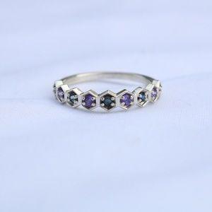 Geometric ring sapphire silver honeycomb jewelry